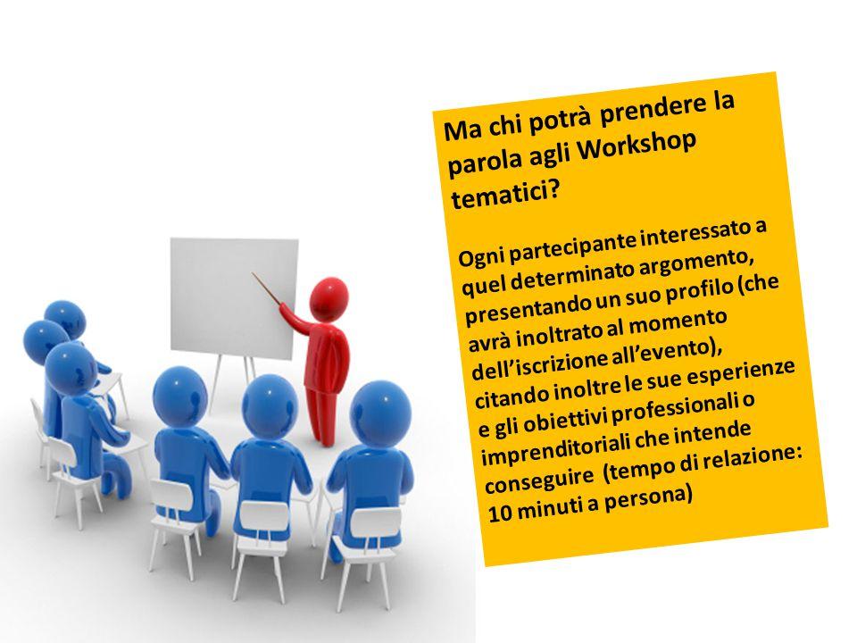 Ma chi potrà prendere la parola agli Workshop tematici? Ogni partecipante interessato a quel determinato argomento, presentando un suo profilo (che av