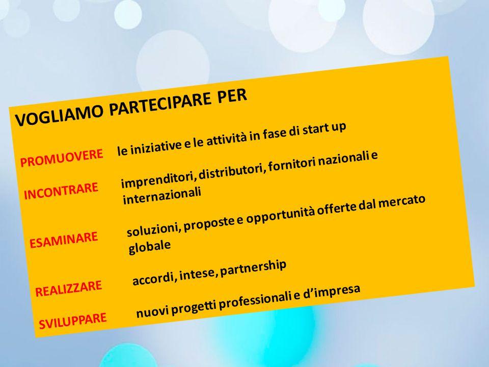 VOGLIAMO PARTECIPARE PER PROMUOVERE le iniziative e le attività in fase di start up INCONTRARE imprenditori, distributori, fornitori nazionali e inter