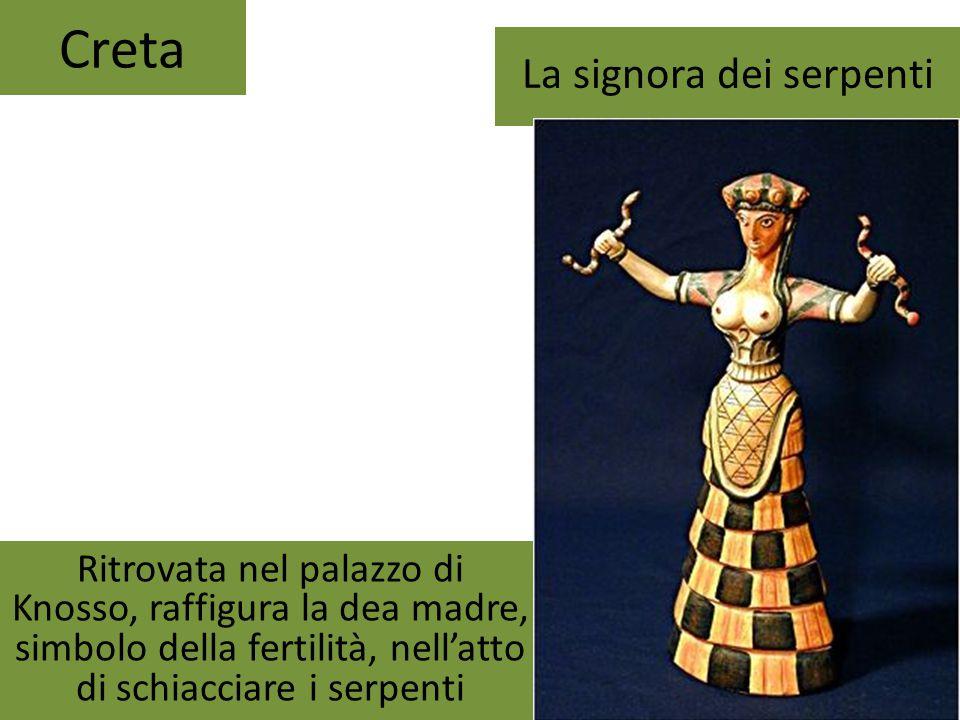 Creta La signora dei serpenti Ritrovata nel palazzo di Knosso, raffigura la dea madre, simbolo della fertilità, nell'atto di schiacciare i serpenti