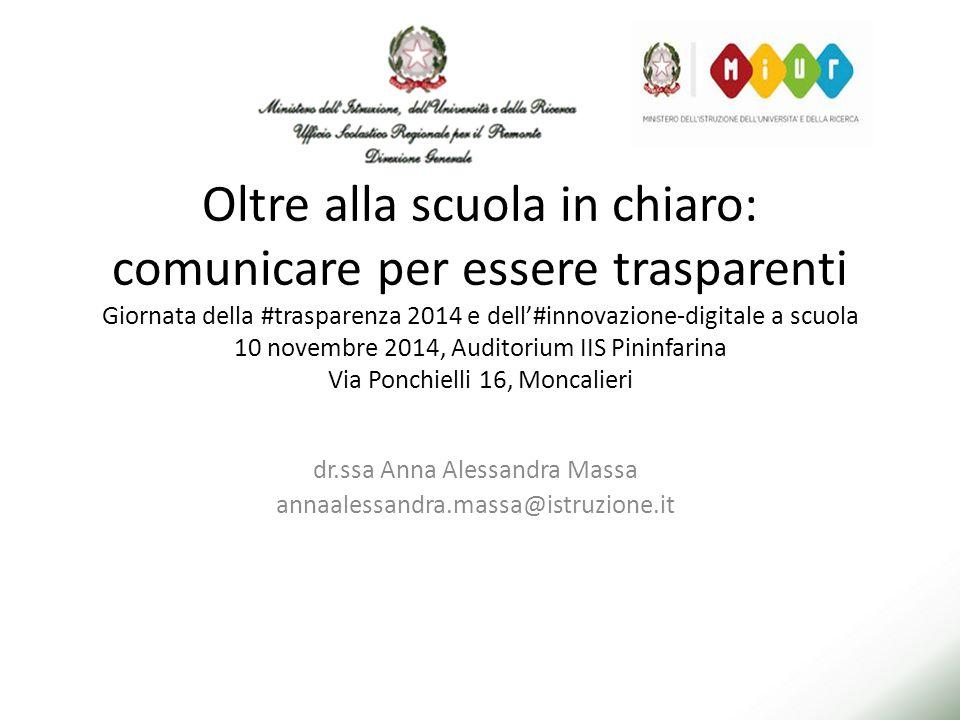 Oltre alla scuola in chiaro: comunicare per essere trasparenti Giornata della #trasparenza 2014 e dell'#innovazione-digitale a scuola 10 novembre 2014