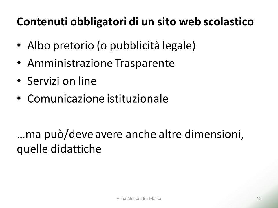 Contenuti obbligatori di un sito web scolastico Albo pretorio (o pubblicità legale) Amministrazione Trasparente Servizi on line Comunicazione istituzi