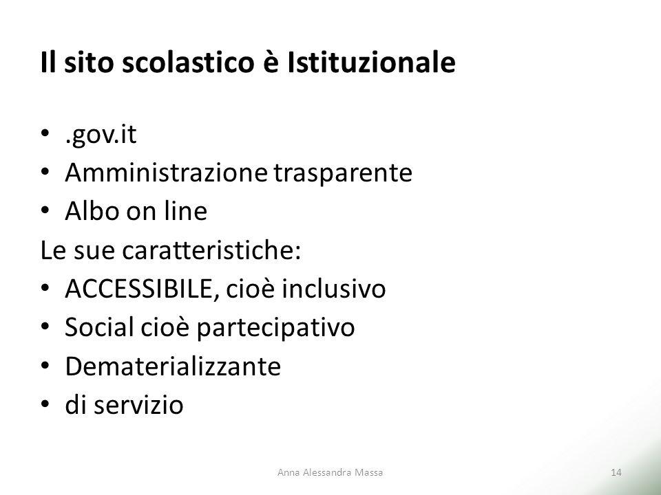 Il sito scolastico è Istituzionale.gov.it Amministrazione trasparente Albo on line Le sue caratteristiche: ACCESSIBILE, cioè inclusivo Social cioè par
