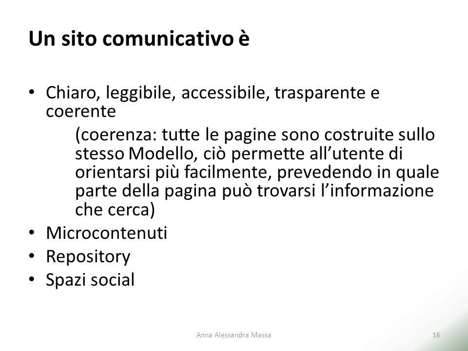 Un sito comunicativo è Chiaro, leggibile, accessibile, trasparente e coerente (coerenza: tutte le pagine sono costruite sullo stesso Modello, ciò perm