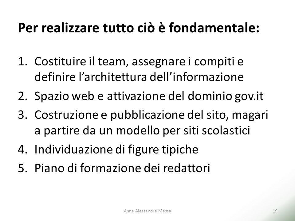 Per realizzare tutto ciò è fondamentale: 1.Costituire il team, assegnare i compiti e definire l'architettura dell'informazione 2.Spazio web e attivazi