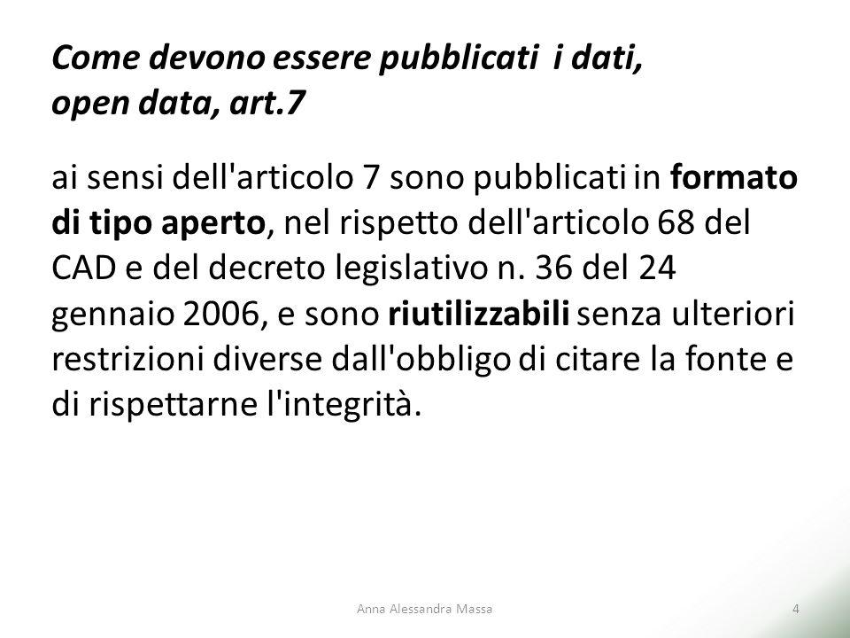 Come devono essere pubblicati i dati, open data, art.7 ai sensi dell'articolo 7 sono pubblicati in formato di tipo aperto, nel rispetto dell'articolo