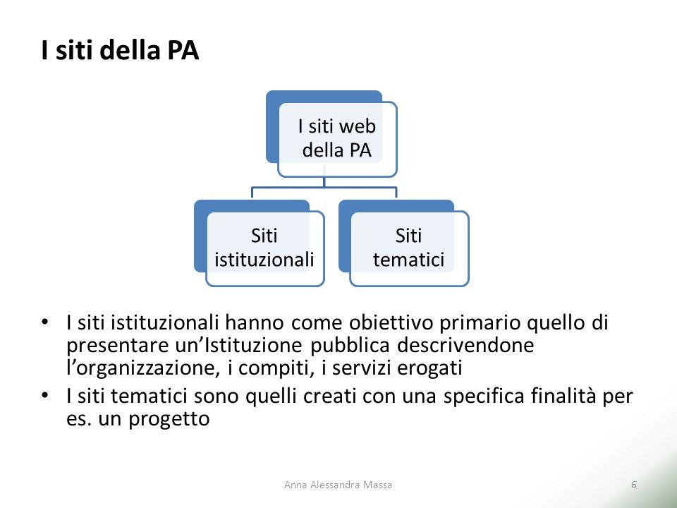 I siti della PA I siti istituzionali hanno come obiettivo primario quello di presentare un'Istituzione pubblica descrivendone l'organizzazione, i comp