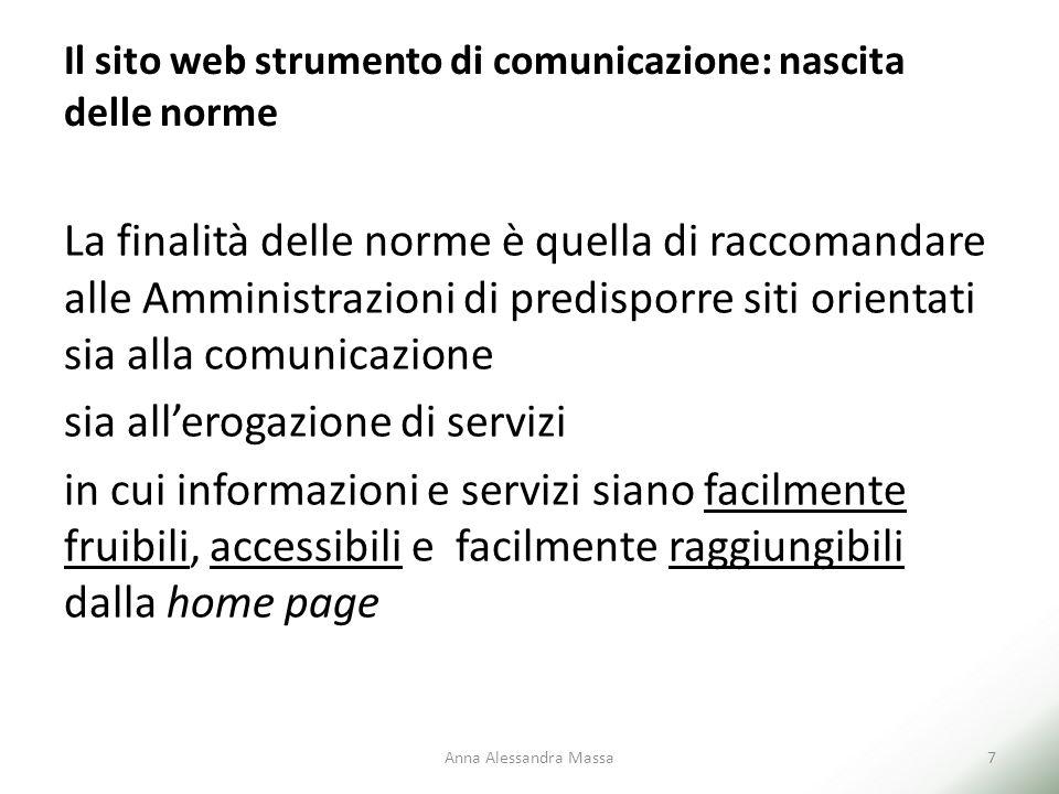 Il sito web strumento di comunicazione: nascita delle norme La finalità delle norme è quella di raccomandare alle Amministrazioni di predisporre siti