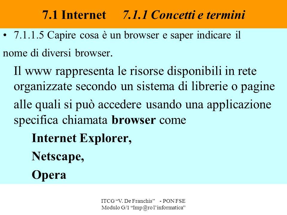 7.1.1.5 Capire cosa è un browser e saper indicare il nome di diversi browser. Il www rappresenta le risorse disponibili in rete organizzate secondo un