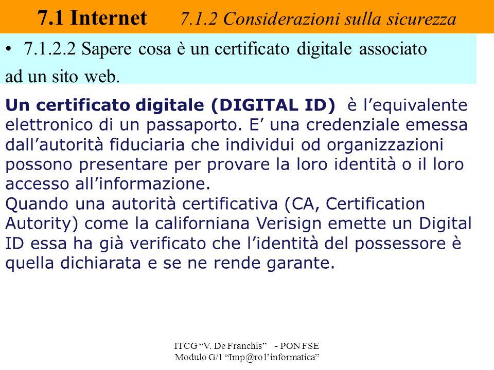 """7.1.2.2 Sapere cosa è un certificato digitale associato ad un sito web. 7.1 Internet 7.1.2 Considerazioni sulla sicurezza ITCG """"V. De Franchis"""" - PON"""