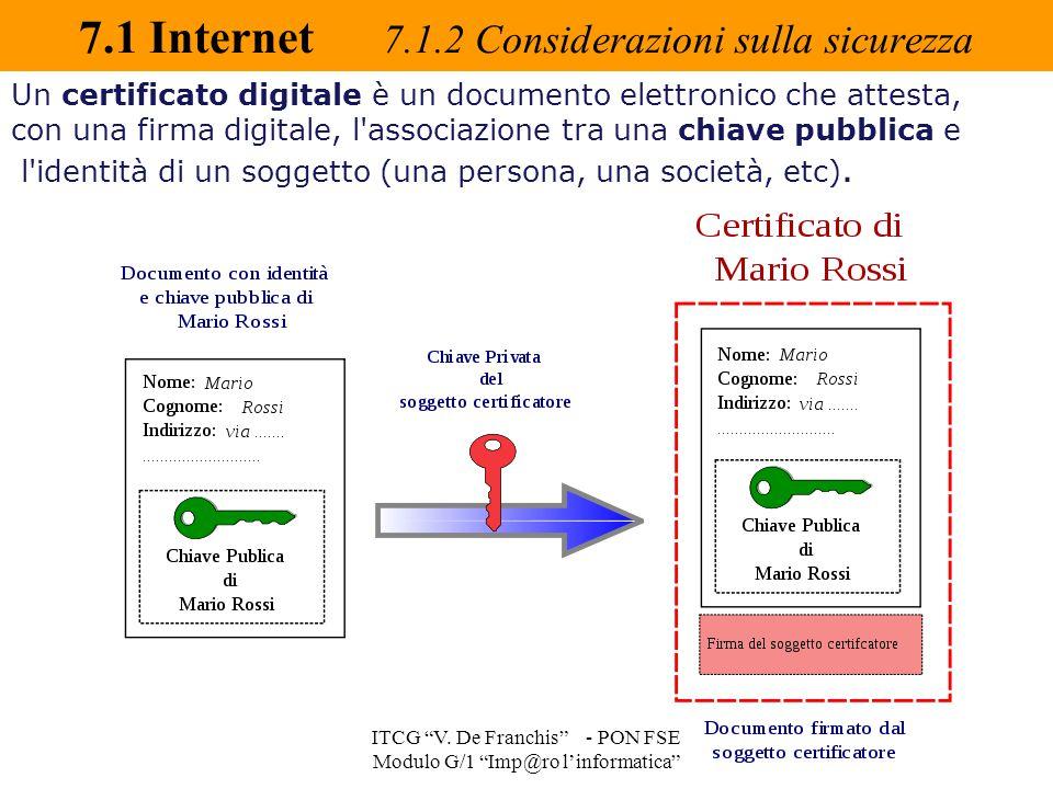 """7.1 Internet 7.1.2 Considerazioni sulla sicurezza ITCG """"V. De Franchis"""" - PON FSE Modulo G/1 """"Imp@ro l'informatica"""" Un certificato digitale è un docum"""