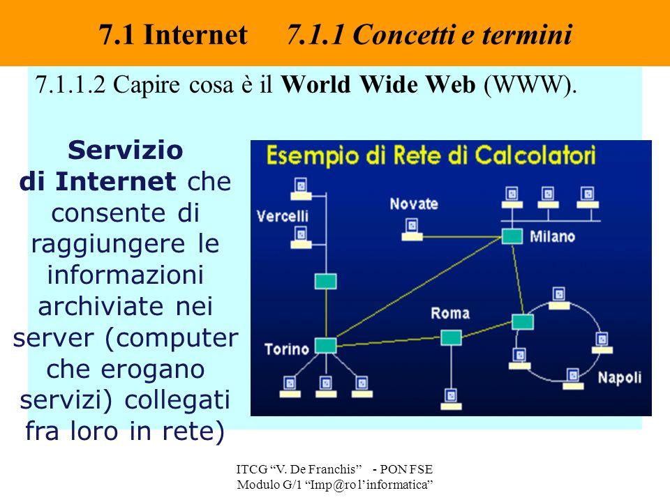 """7.1.1.2 Capire cosa è il World Wide Web (WWW). 7.1 Internet 7.1.1 Concetti e termini ITCG """"V. De Franchis"""" - PON FSE Modulo G/1 """"Imp@ro l'informatica"""""""