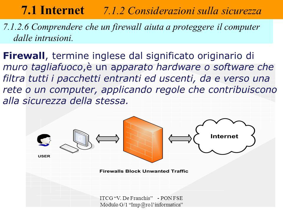 """7.1.2.6 Comprendere che un firewall aiuta a proteggere il computer dalle intrusioni. 7.1 Internet 7.1.2 Considerazioni sulla sicurezza ITCG """"V. De Fra"""