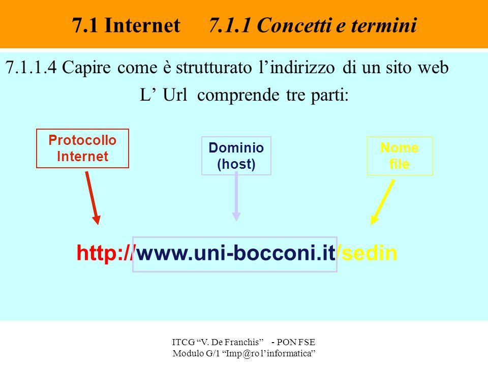 """7.1.1.4 Capire come è strutturato l'indirizzo di un sito web L' Url comprende tre parti: 7.1 Internet 7.1.1 Concetti e termini ITCG """"V. De Franchis"""" -"""