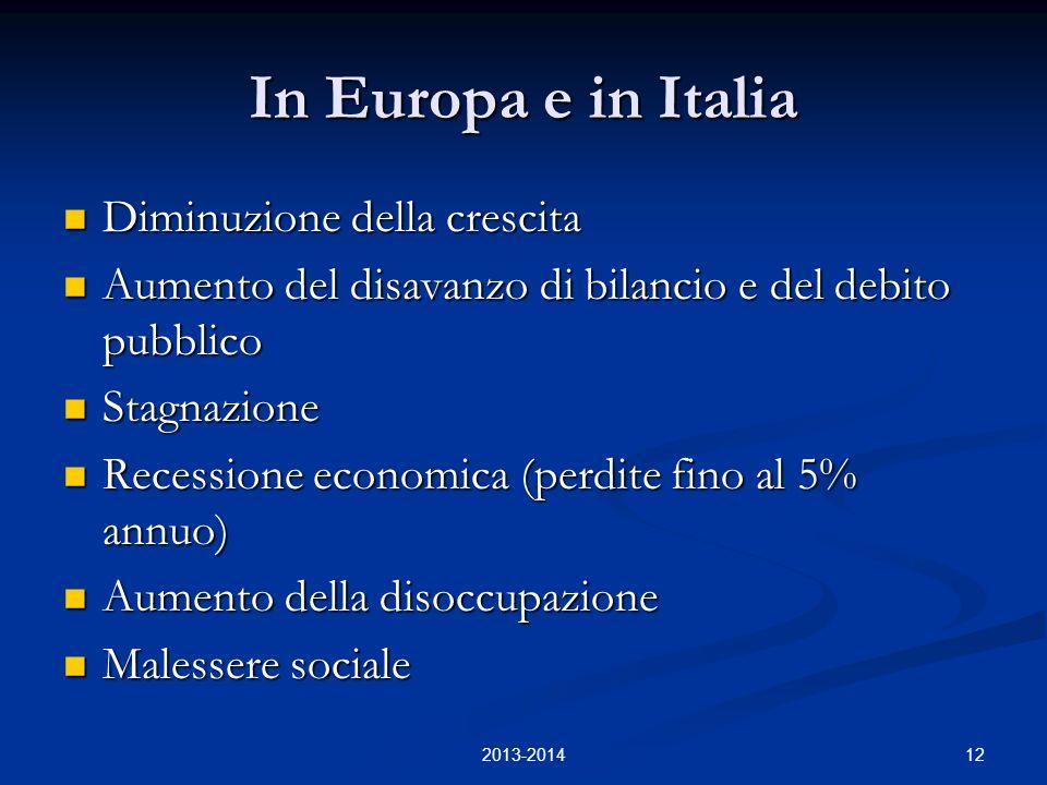 12 In Europa e in Italia Diminuzione della crescita Diminuzione della crescita Aumento del disavanzo di bilancio e del debito pubblico Aumento del dis