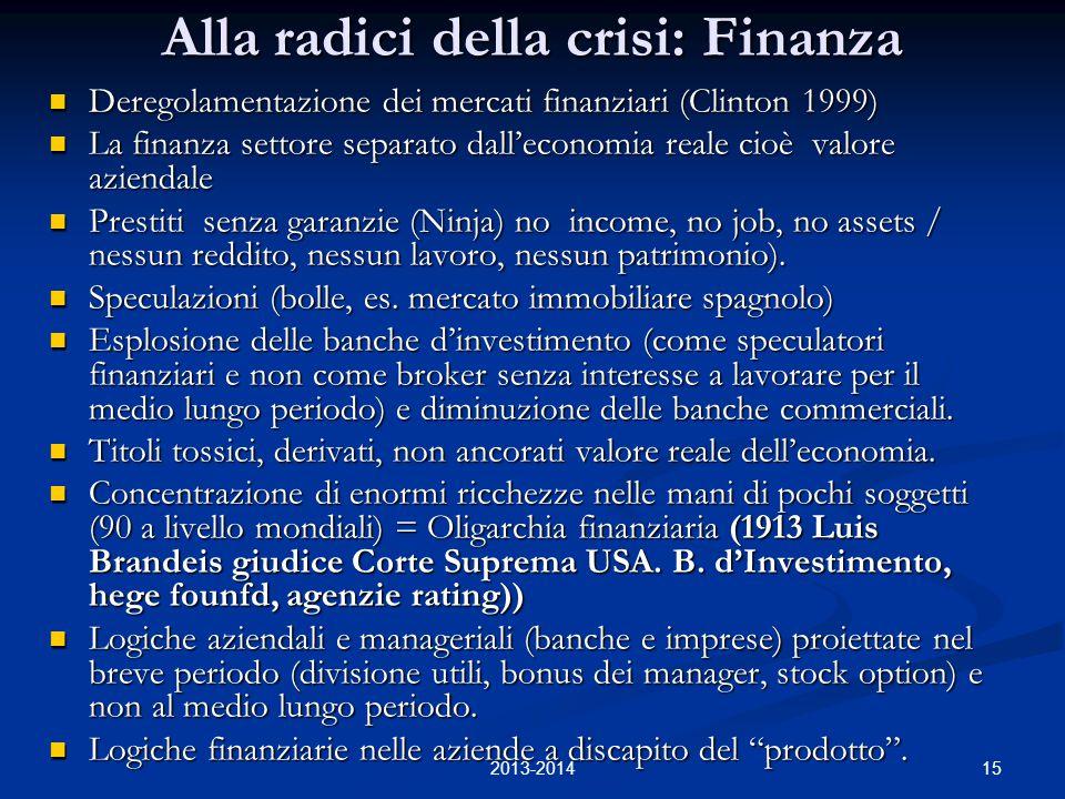 15 Alla radici della crisi: Finanza Deregolamentazione dei mercati finanziari (Clinton 1999) Deregolamentazione dei mercati finanziari (Clinton 1999)