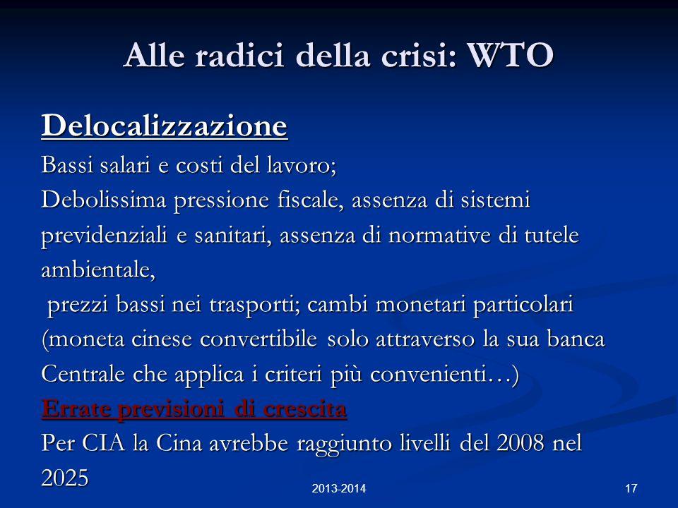 17 Alle radici della crisi: WTO Delocalizzazione Bassi salari e costi del lavoro; Debolissima pressione fiscale, assenza di sistemi previdenziali e sa