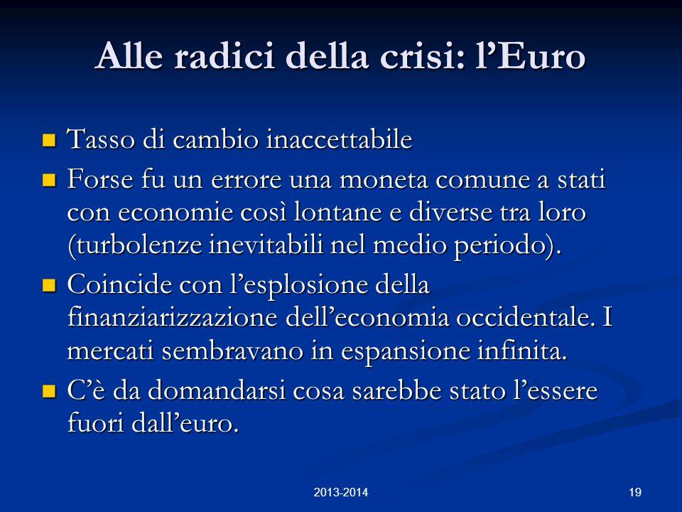 19 Alle radici della crisi: l'Euro Tasso di cambio inaccettabile Tasso di cambio inaccettabile Forse fu un errore una moneta comune a stati con economie così lontane e diverse tra loro (turbolenze inevitabili nel medio periodo).