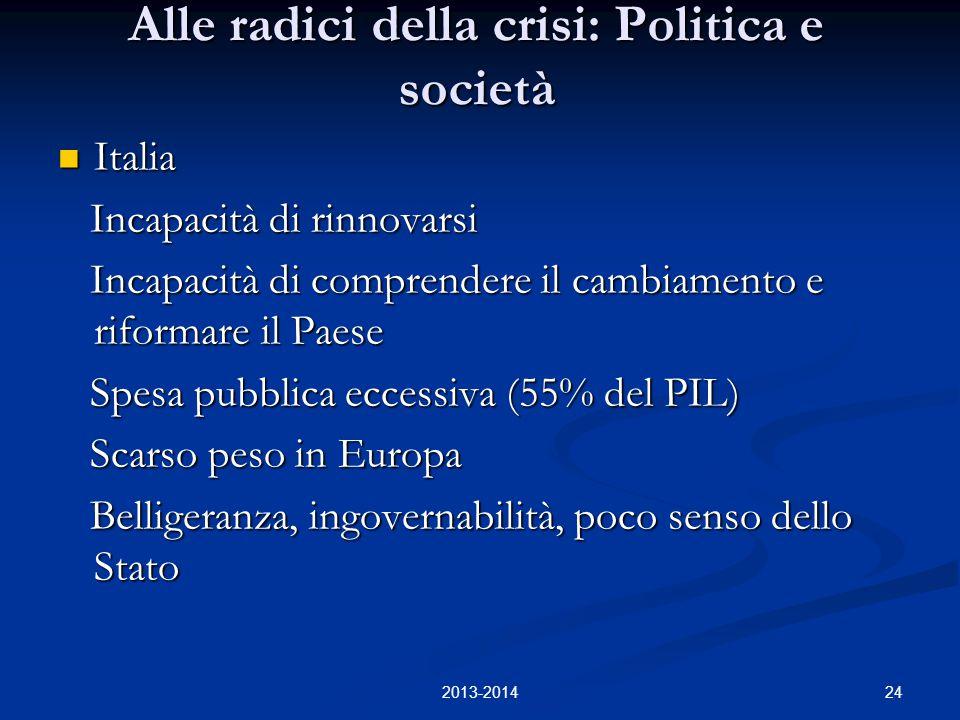 24 Alle radici della crisi: Politica e società Italia Italia Incapacità di rinnovarsi Incapacità di rinnovarsi Incapacità di comprendere il cambiament