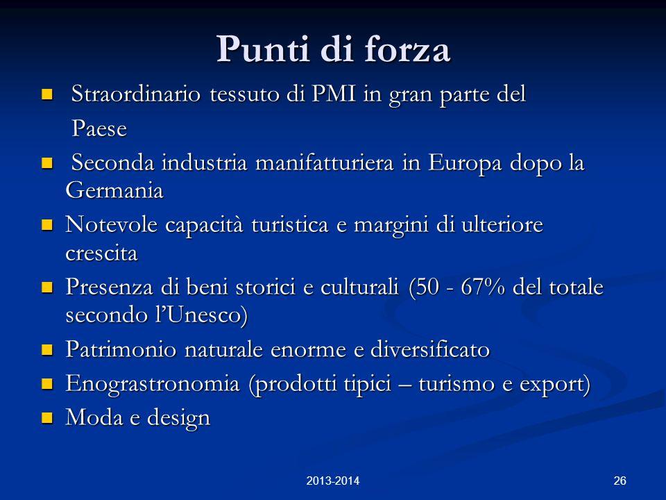 26 Punti di forza Straordinario tessuto di PMI in gran parte del Straordinario tessuto di PMI in gran parte del Paese Paese Seconda industria manifatt