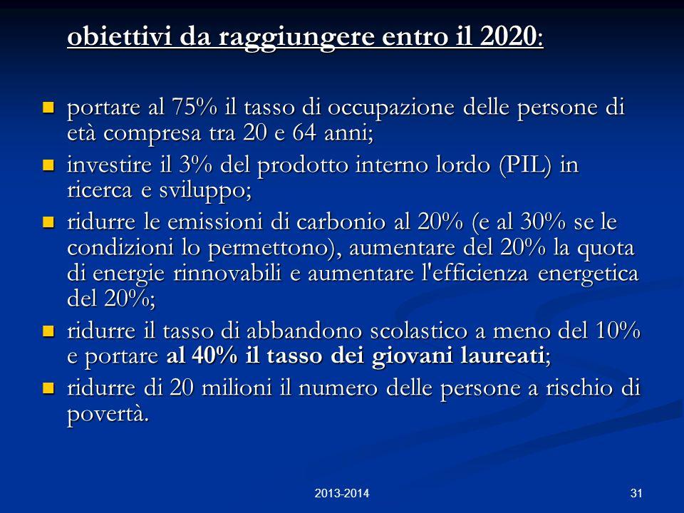 31 obiettivi da raggiungere entro il 2020: portare al 75% il tasso di occupazione delle persone di età compresa tra 20 e 64 anni; portare al 75% il ta