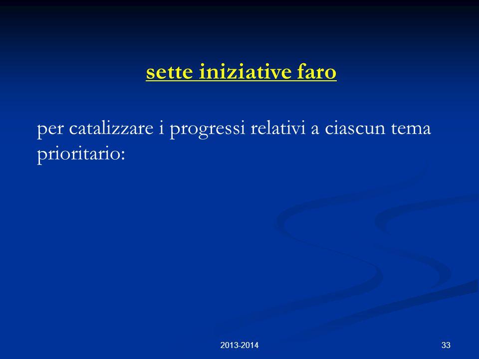 33 sette iniziative faro per catalizzare i progressi relativi a ciascun tema prioritario: 2013-2014