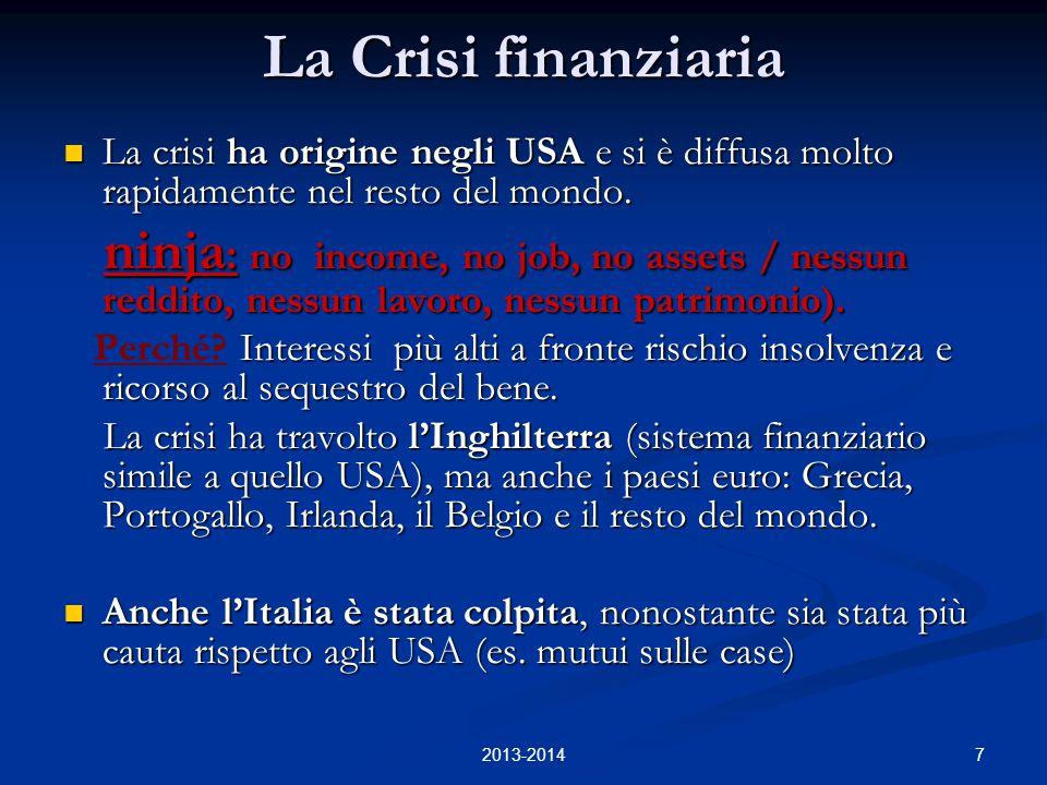7 La Crisi finanziaria La crisi ha origine negli USA e si è diffusa molto rapidamente nel resto del mondo. La crisi ha origine negli USA e si è diffus