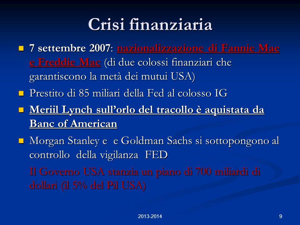 9 Crisi finanziaria 7 settembre 2007: nazionalizzazione di Fannie Mae e Freddie Mac (di due colossi finanziari che garantiscono la metà dei mutui USA)