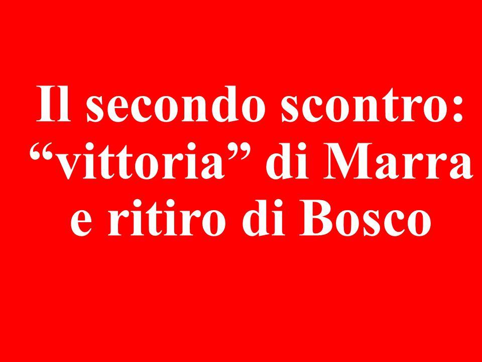Il secondo scontro: vittoria di Marra e ritiro di Bosco