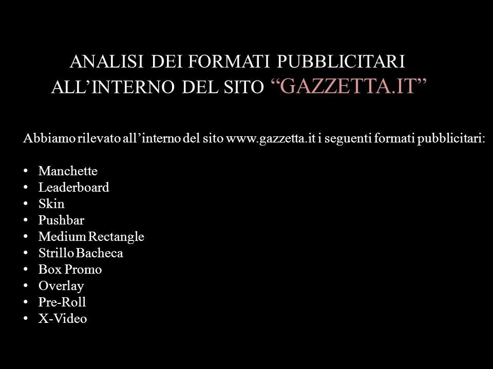 """ANALISI DEI FORMATI PUBBLICITARI ALL'INTERNO DEL SITO """"GAZZETTA.IT"""" Abbiamo rilevato all'interno del sito www.gazzetta.it i seguenti formati pubblicit"""