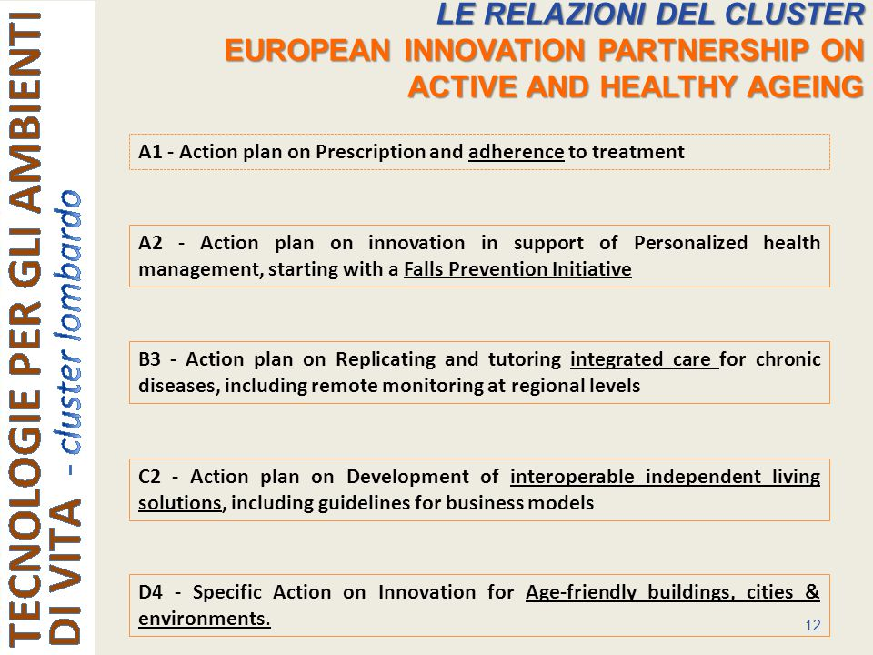 12 LE RELAZIONI DEL CLUSTER EUROPEAN INNOVATION PARTNERSHIP ON ACTIVE AND HEALTHY AGEING A2 - Action plan on innovation in support of Personalized health management, starting with a Falls Prevention Initiative B3 - Action plan on Replicating and tutoring integrated care for chronic diseases, including remote monitoring at regional levels A1 - Action plan on Prescription and adherence to treatment D4 - Specific Action on Innovation for Age-friendly buildings, cities & environments.