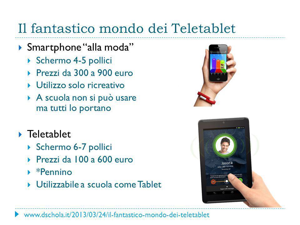 """Il fantastico mondo dei Teletablet  Smartphone """"alla moda""""  Schermo 4-5 pollici  Prezzi da 300 a 900 euro  Utilizzo solo ricreativo  A scuola non"""