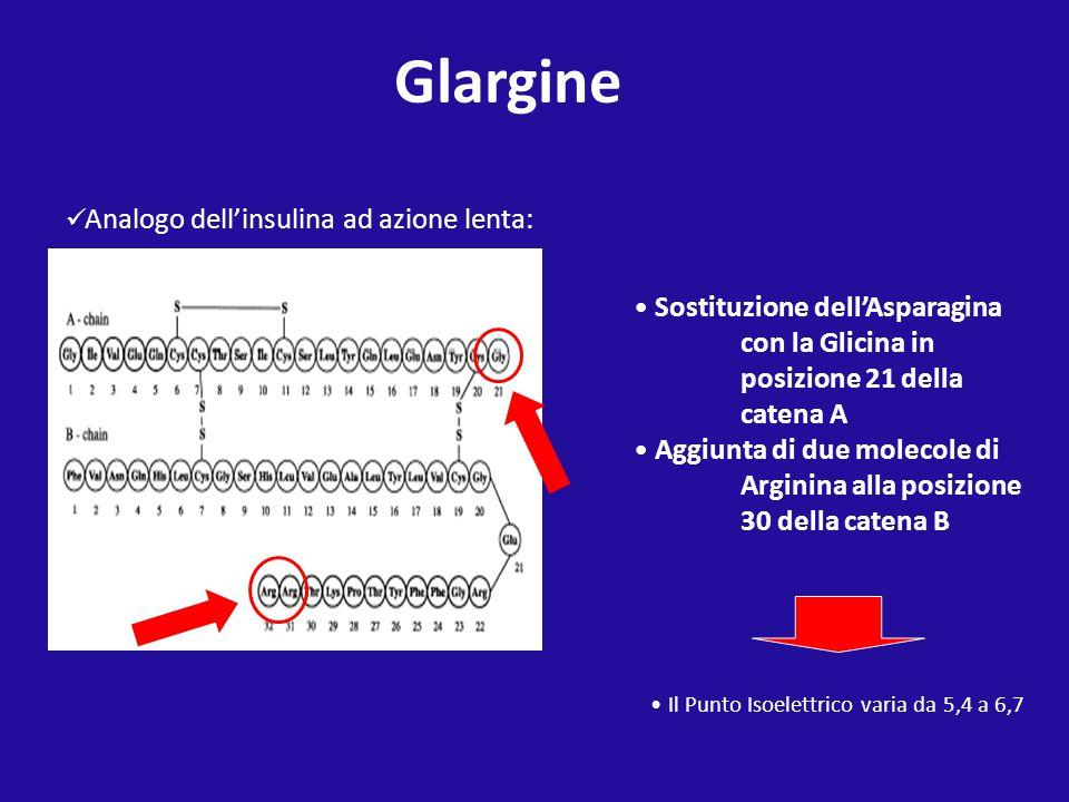Analogo dell'insulina ad azione lenta: Sostituzione dell'Asparagina con la Glicina in posizione 21 della catena A Aggiunta di due molecole di Arginina