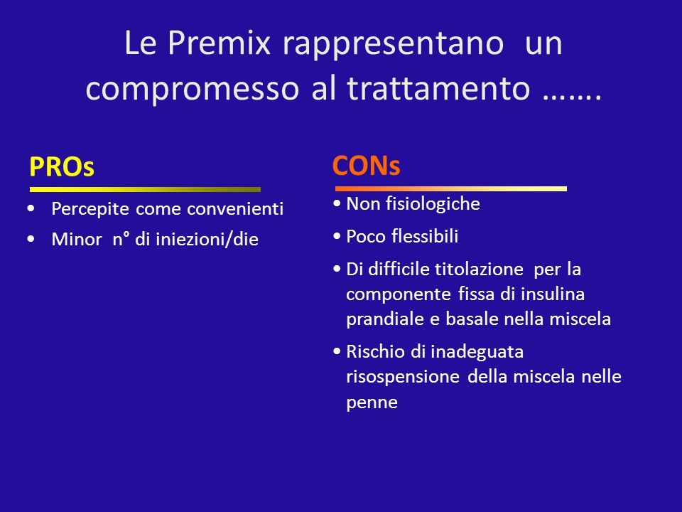 Percepite come convenienti Minor n° di iniezioni/die PROs Non fisiologiche Poco flessibili Di difficile titolazione per la componente fissa di insulin
