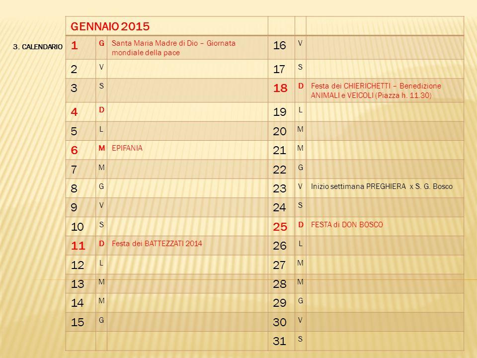3. CALENDARIO GENNAIO 2015 1 GSanta Maria Madre di Dio – Giornata mondiale della pace 16 V 2 V 17 S 3 S 18 DFesta dei CHIERICHETTI – Benedizione ANIMA