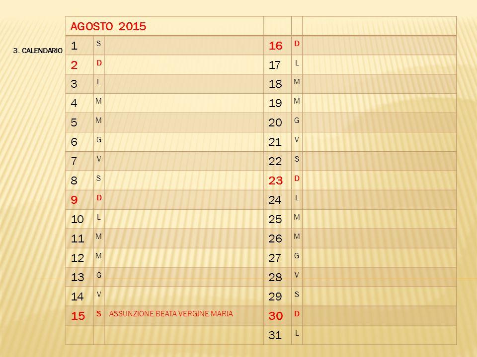 3. CALENDARIO AGOSTO 2015 1 S 16 D 2 D 17 L 3 L 18 M 4 M 19 M 5 M 20 G 6 G 21 V 7 V 22 S 8 S 23 D 9 D 24 L 10 L 25 M 11 M 26 M 12 M 27 G 13 G 28 V 14