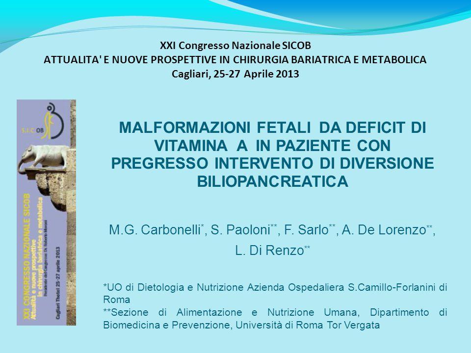 XXI Congresso Nazionale SICOB ATTUALITA' E NUOVE PROSPETTIVE IN CHIRURGIA BARIATRICA E METABOLICA Cagliari, 25-27 Aprile 2013 MALFORMAZIONI FETALI DA