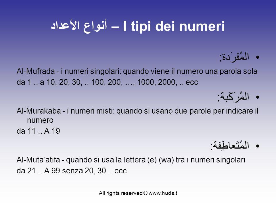 All rights reserved © www.huda.t أنواع الأعداد – I tipi dei numeri المُفرَدة: Al-Mufrada - i numeri singolari: quando viene il numero una parola sola da 1..