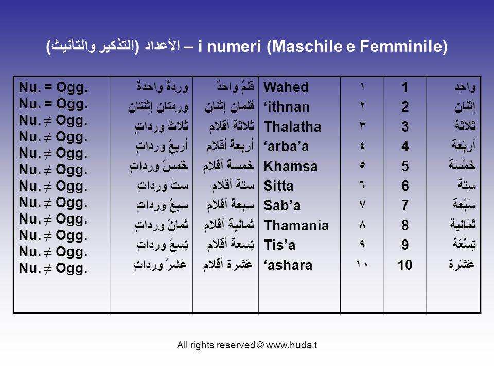 All rights reserved © www.huda.t الأعداد (التذكير والتأنيث) – i numeri (Maschile e Femminile) Nu. = Ogg. Nu. ≠ Ogg. وردةٌ واحدةٌ وردتان إثنتان ثَلاثُ