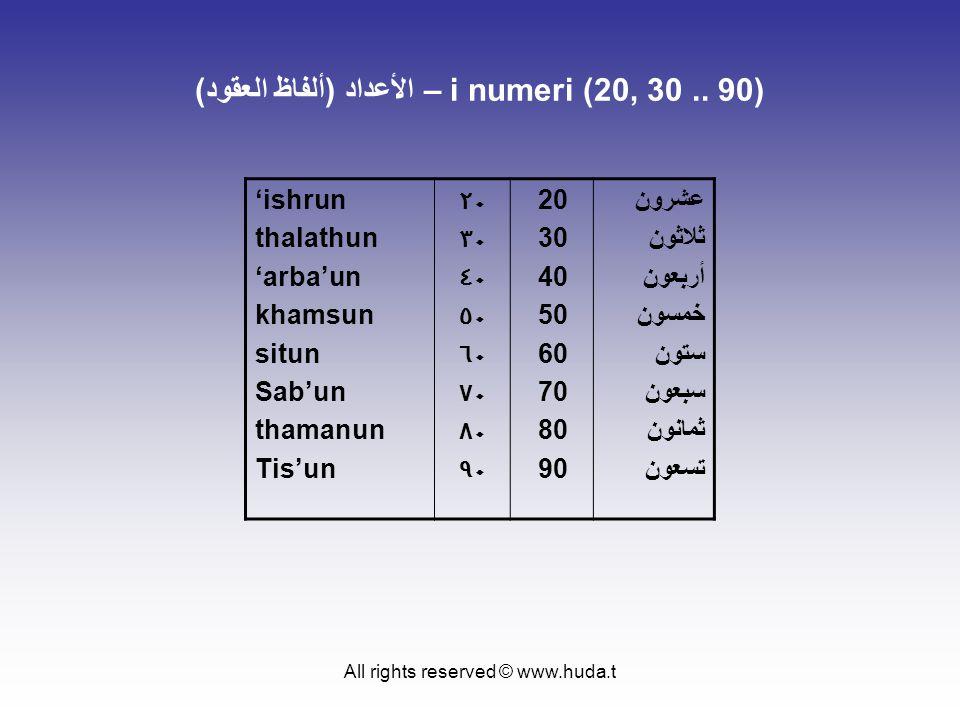 All rights reserved © www.huda.t الأعداد (ألفاظ العقود) – i numeri (20, 30.. 90) 'ishrun thalathun 'arba'un khamsun situn Sab'un thamanun Tis'un ٢٠ ٣٠