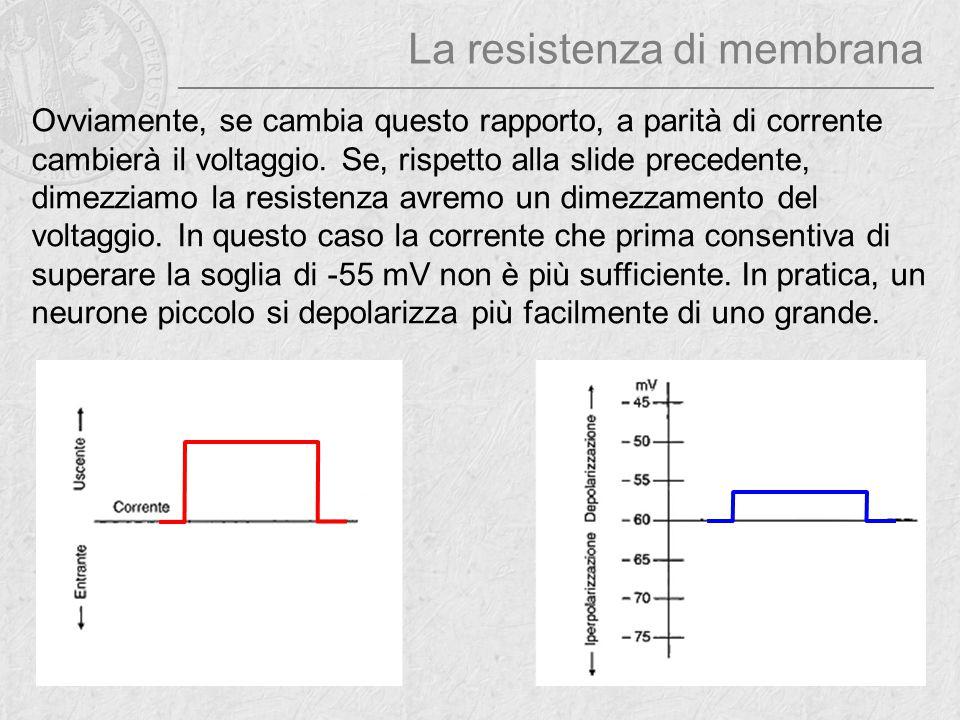 Ovviamente, se cambia questo rapporto, a parità di corrente cambierà il voltaggio. Se, rispetto alla slide precedente, dimezziamo la resistenza avremo
