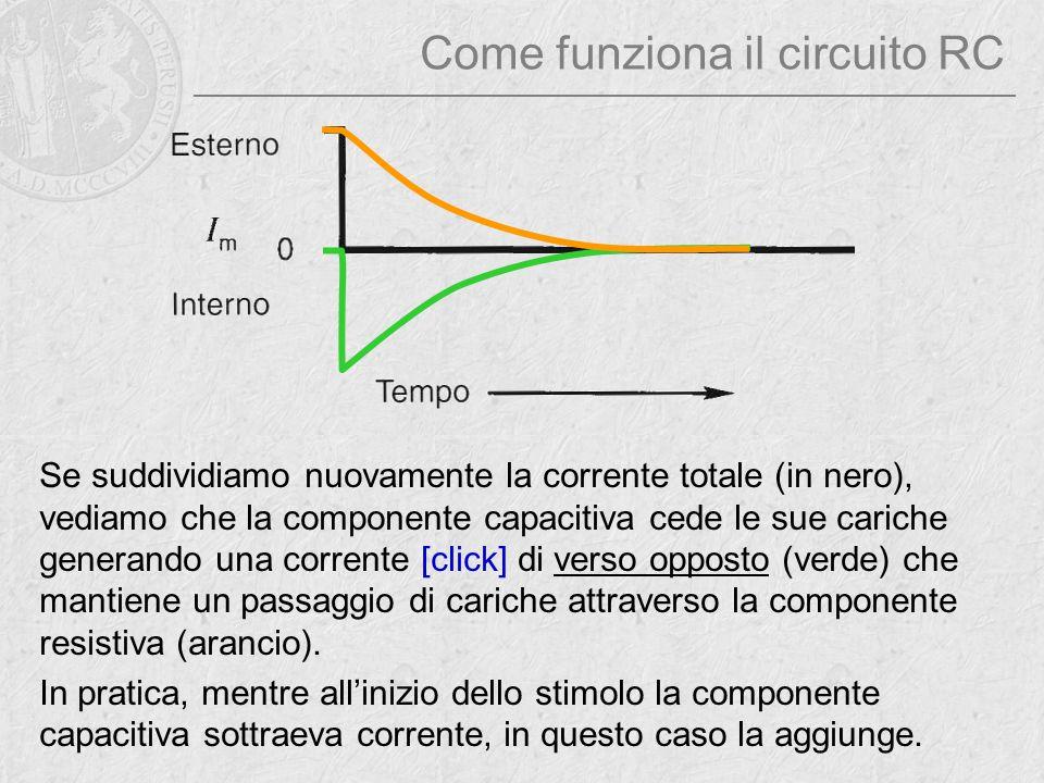 Come funziona il circuito RC Se suddividiamo nuovamente la corrente totale (in nero), vediamo che la componente capacitiva cede le sue cariche generan