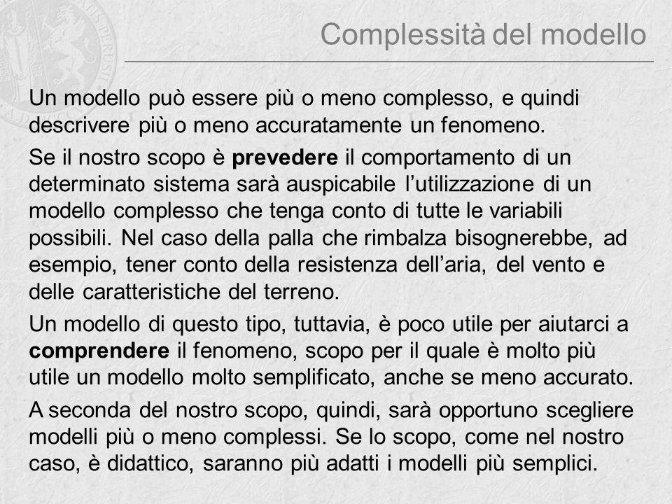 Complessità del modello Un modello può essere più o meno complesso, e quindi descrivere più o meno accuratamente un fenomeno. Se il nostro scopo è pre