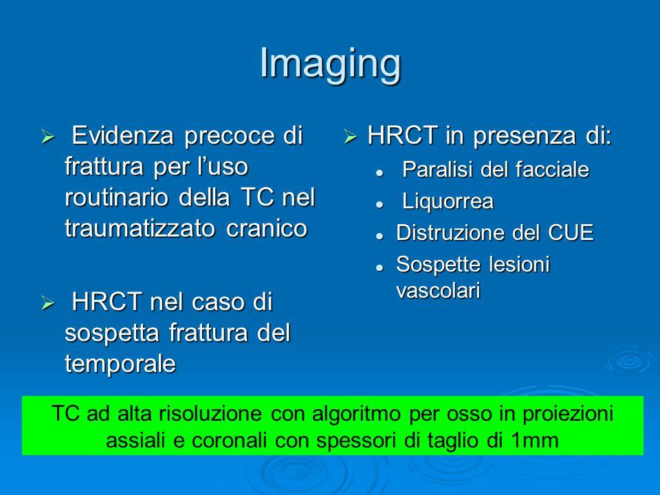 Imaging  Evidenza precoce di frattura per l'uso routinario della TC nel traumatizzato cranico  HRCT nel caso di sospetta frattura del temporale  HR