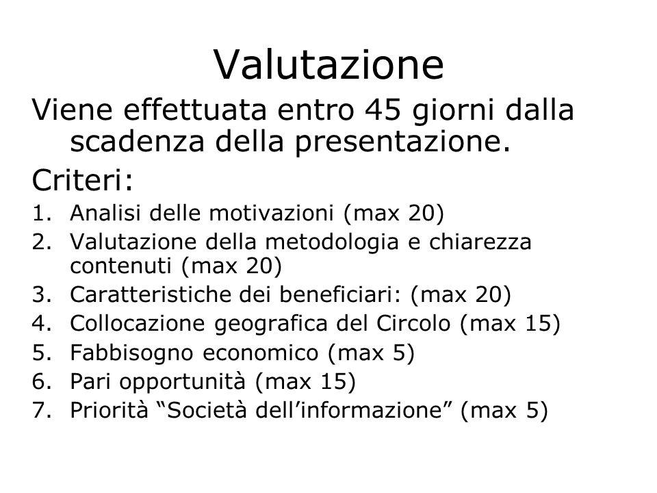 Valutazione Viene effettuata entro 45 giorni dalla scadenza della presentazione. Criteri: 1.Analisi delle motivazioni (max 20) 2.Valutazione della met