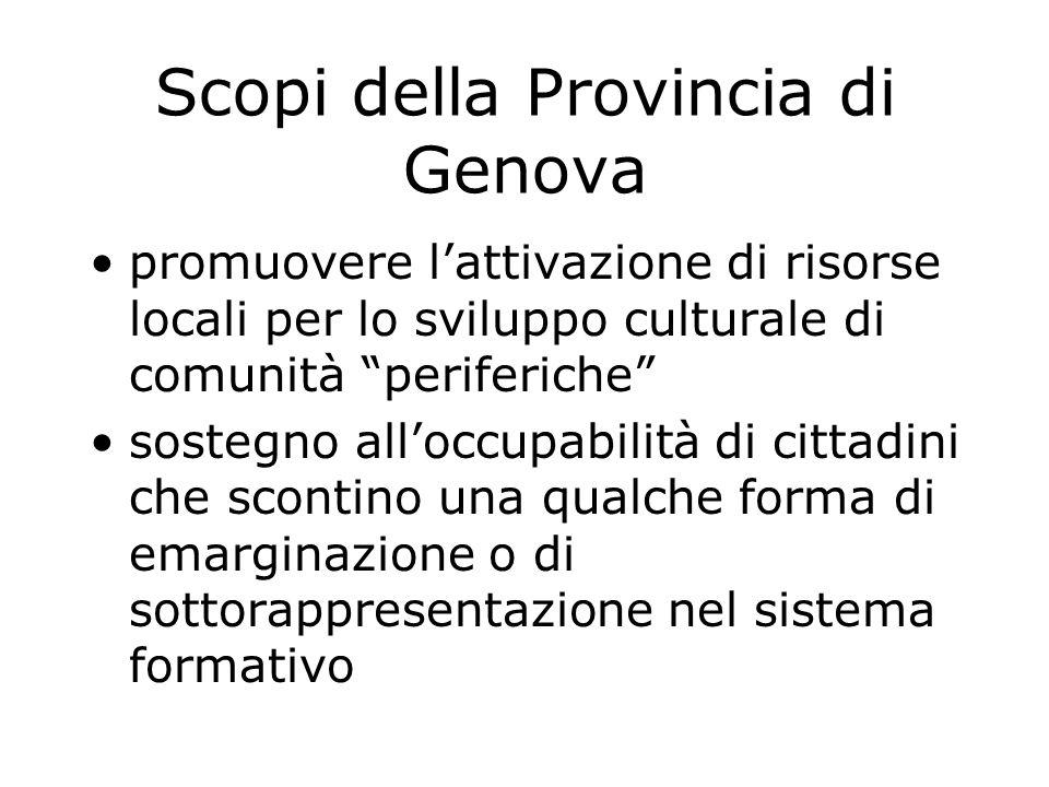 """Scopi della Provincia di Genova promuovere l'attivazione di risorse locali per lo sviluppo culturale di comunità """"periferiche"""" sostegno all'occupabili"""