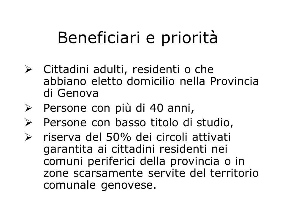 Beneficiari e priorità  Cittadini adulti, residenti o che abbiano eletto domicilio nella Provincia di Genova  Persone con più di 40 anni,  Persone