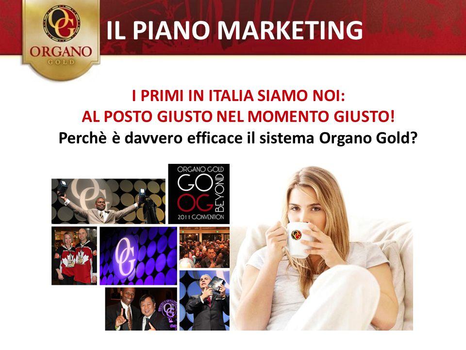 I PRIMI IN ITALIA SIAMO NOI: AL POSTO GIUSTO NEL MOMENTO GIUSTO! Perchè è davvero efficace il sistema Organo Gold? IL PIANO MARKETING