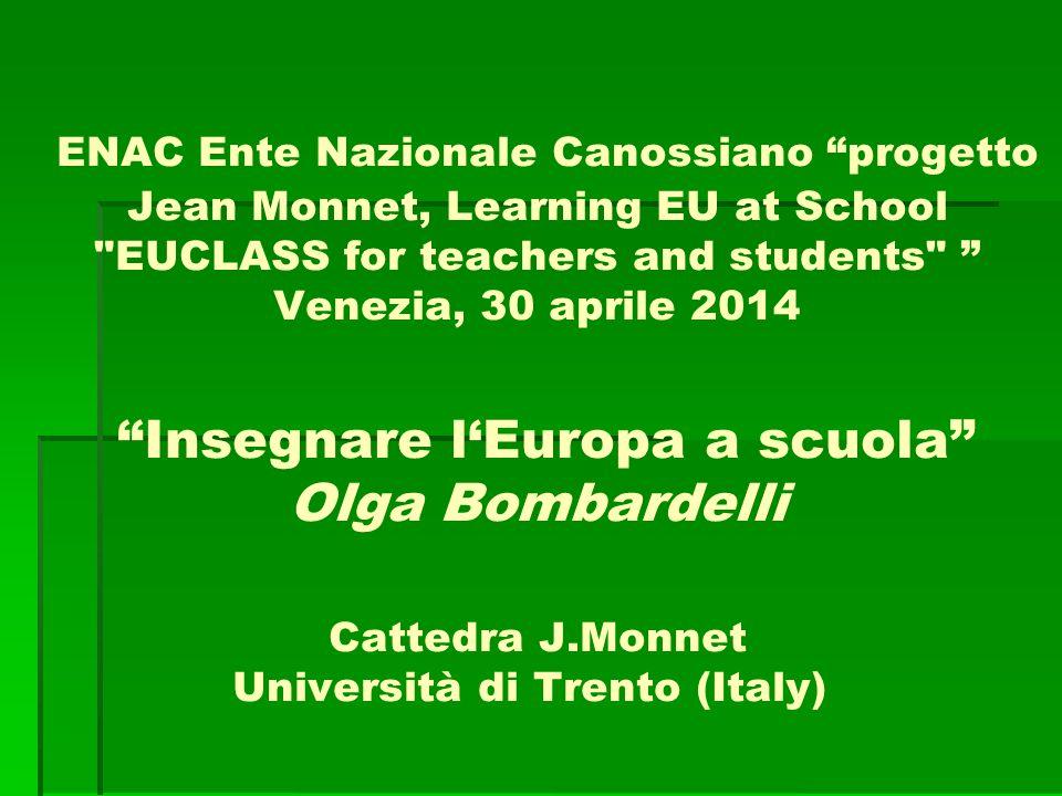 Insegnare l'Europa a scuola Cosa si intende per dimensione europea Educazione alla cittadinanza Insegnare in classe Contenuti, metodi, sussidi, reti Esempi: europa.eu; eclipse.lett.unitn.it