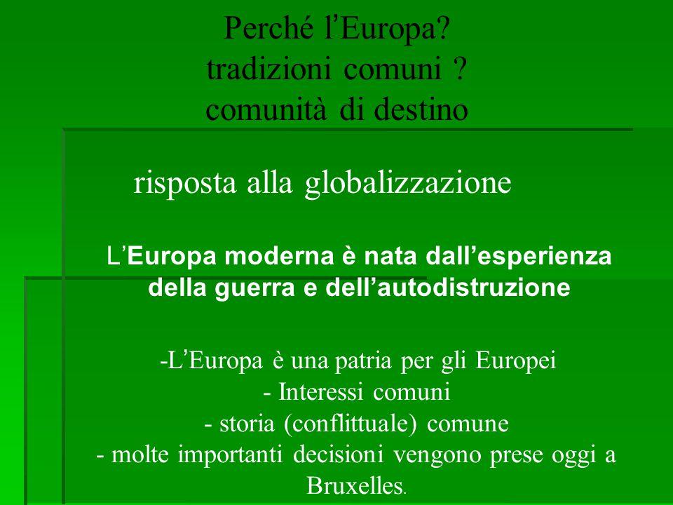 Perché l'Europa? tradizioni comuni ? comunità di destino risposta alla globalizzazione -L'Europa è una patria per gli Europei - Interessi comuni - sto
