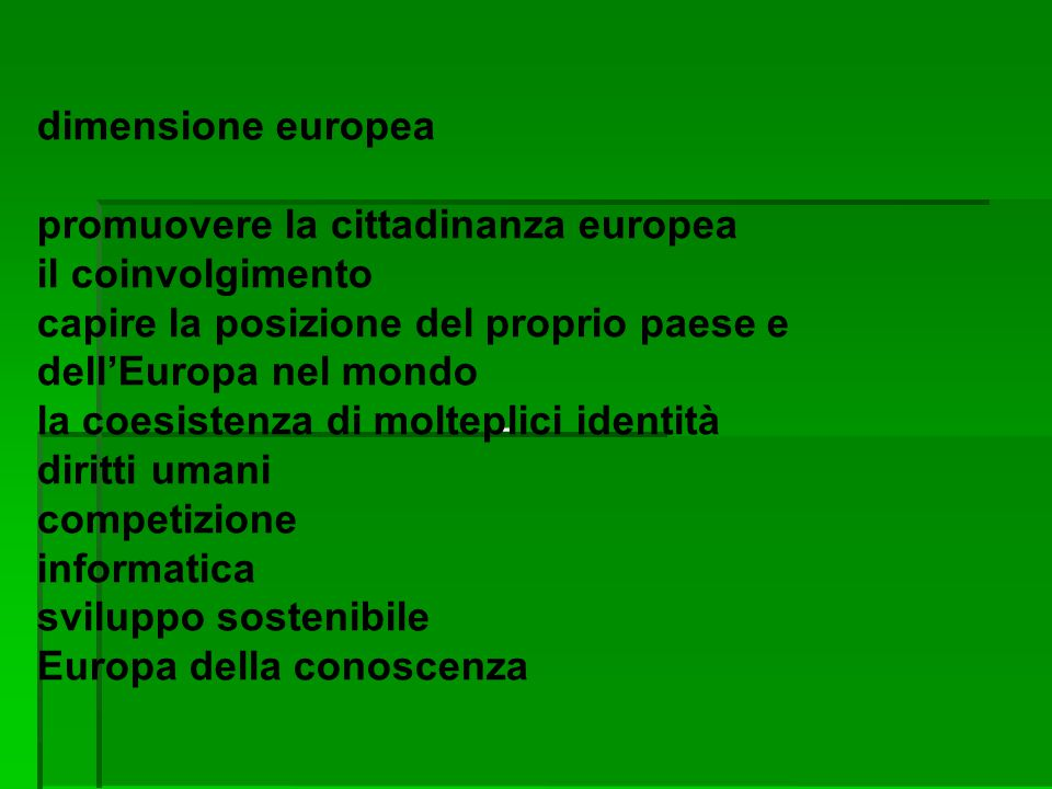 - dimensione europea promuovere la cittadinanza europea il coinvolgimento capire la posizione del proprio paese e dell'Europa nel mondo la coesistenza